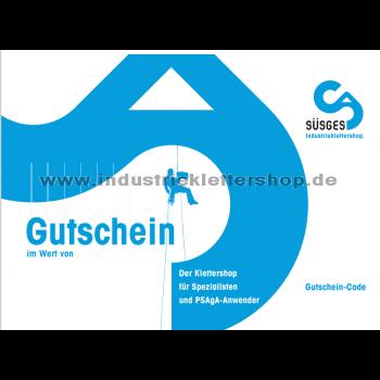 Vorderseite Geschenk-Gutschein 25 Euro, Industrieklettershop Süsges